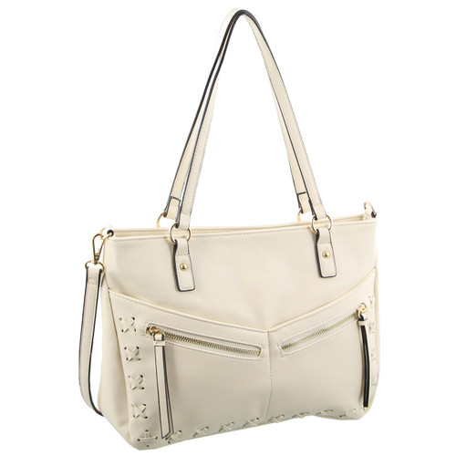 Milleni Ladies Fashion Tote Handbag in White (NC2561)