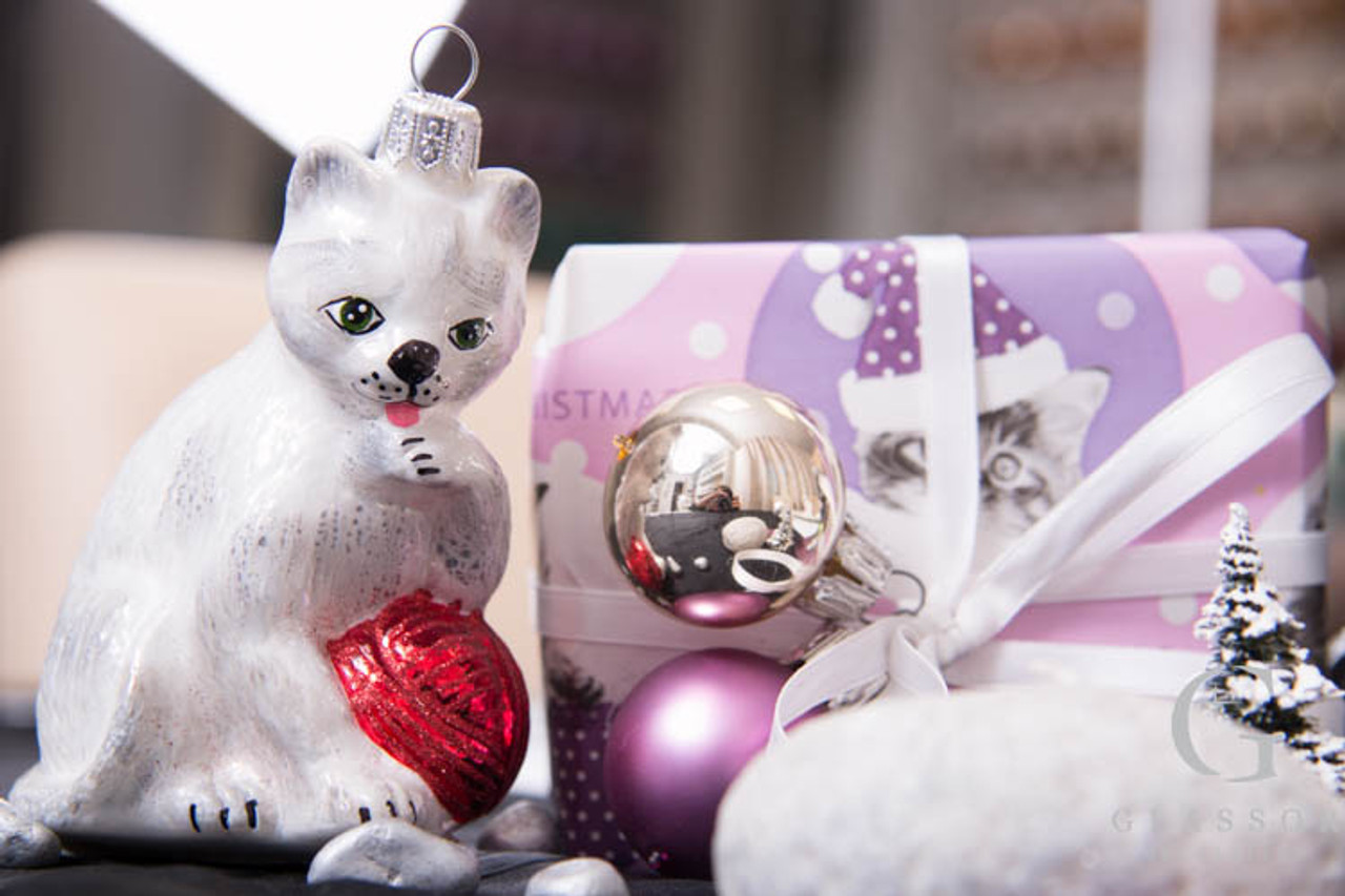 White Grey Cat With Red Ball Handmade Glass Christmas Ornament