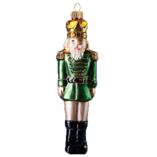 Nutcracker Glass Christmas Ornament in Green Coat, mouth-blown and hand-painted.