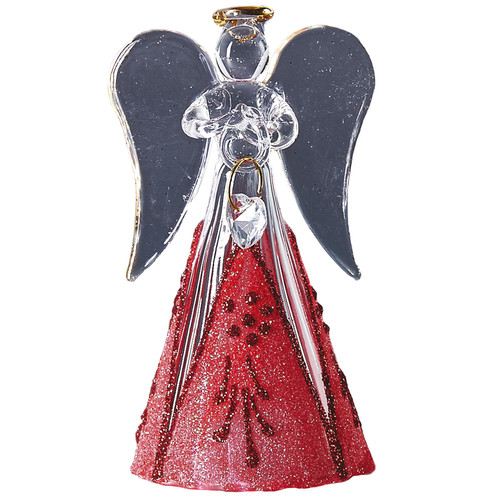 Handcrafted Christmas ornament Modern glass angel with red skirt