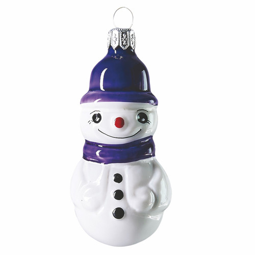 Snowman with purple hat. Hand crafted Christmas ornament made of glass. Mouth-blown and hand-painted.