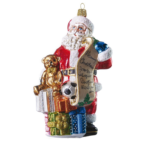 Mouth-blown and hand-painted glass Christmas ornament Santa with toys by GLASSOR