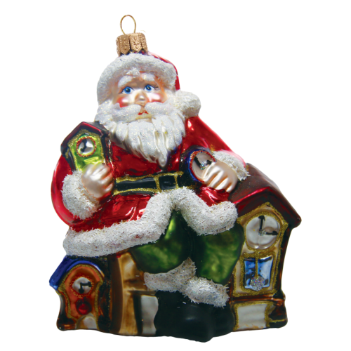 Santa with clocks hand made glass ornament