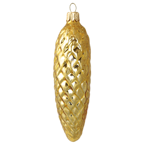 Golden Pinecone Christmas Ornament, mouth-blown and hand decorated