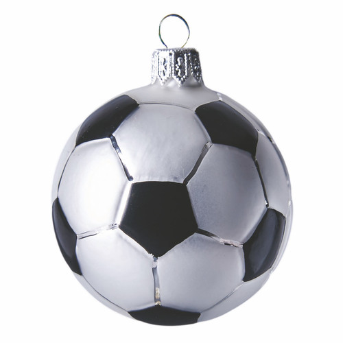 Soccer ball glass ornament  - mouth-blown and hand painted.