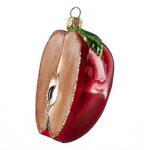 Hand crafted Christmas ornament Halved red apple
