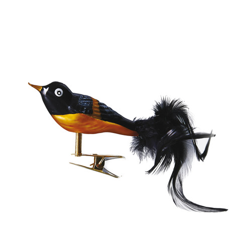 Hand crafted Christmas ornament Black and orange song bird with clip attachment