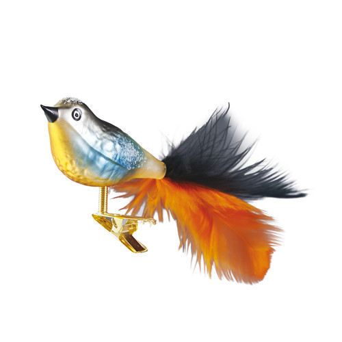 Handcrafted Christmas ornament Blue and orange song bird with clip attachment