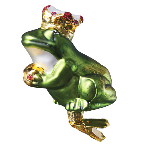 Handcrafted Christmas ornament Frog Prince with Clip Attachment, mouth-blown and hand-painted glass Christmas decoration by GLASSOR.