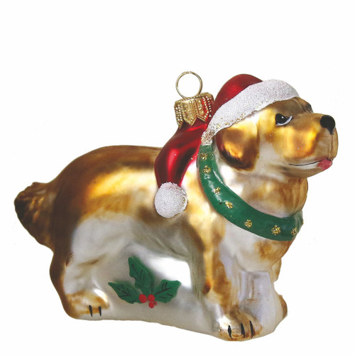 St. Bernard Dog  Ornament with Santa Hat