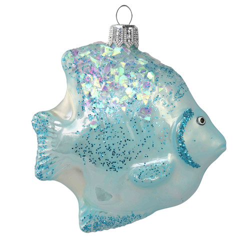 Hand crafted Christmas ornament Blue Tropical Fish