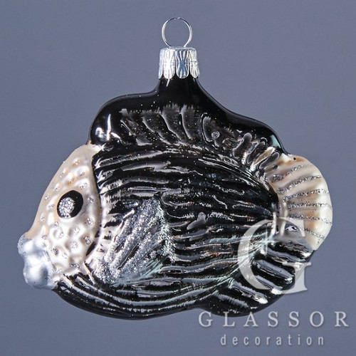 Hand crafted Christmas ornament Silver and black tropical fish