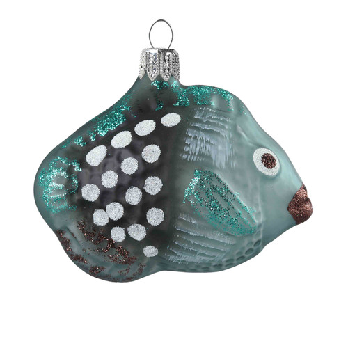 Hand crafted Christmas ornament Blue spotted tropical fish