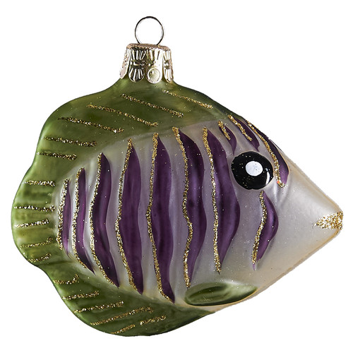 Hand crafted Christmas ornament Purple zebra fish