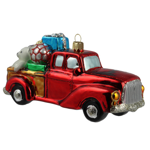 Hand crafted Christmas ornament Vintage truck with gifts.