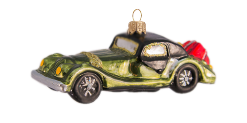 Hand crafted Christmas ornament Green vintage car