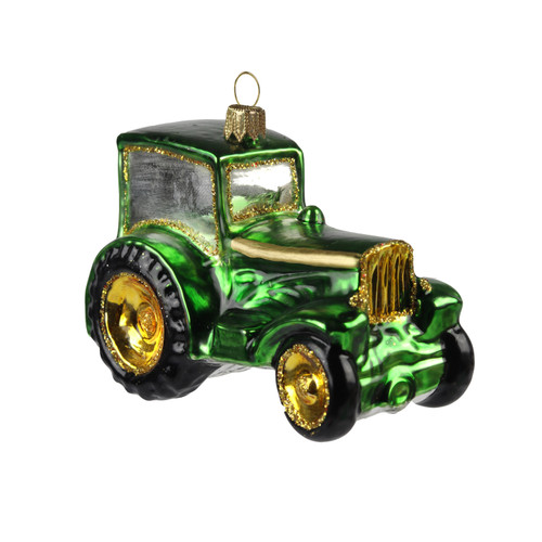 Vintage green tractor handcrafted glass Christmas ornament by GLASSOR