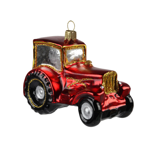 Red Tractor Blown Christmas Ornament, handcrafted glass European hanging ornament.