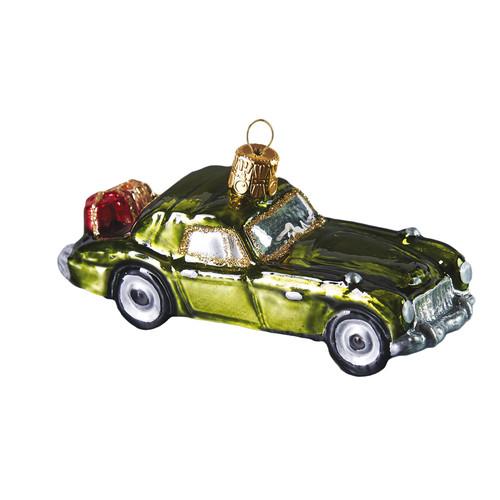 Bottle Green Vintage Car Glass Ornament