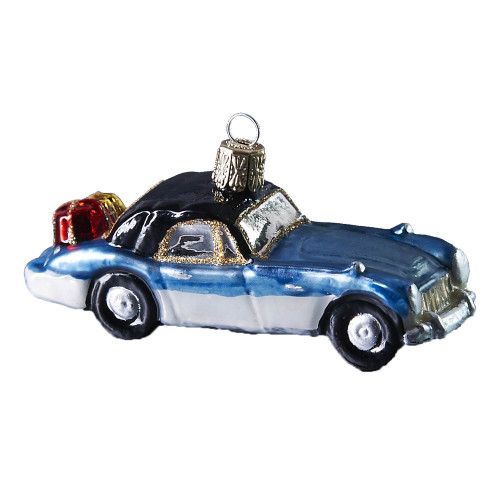 Hand crafted Christmas ornament Two-toned Blue vintage car