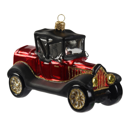 Hand crafted Christmas ornament Red model T