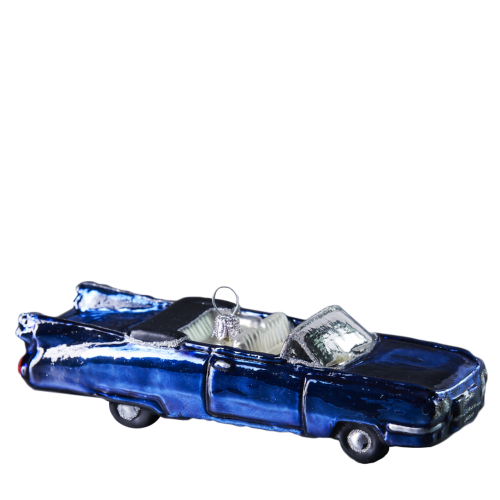 Hand crafted Christmas ornament Blue convertible