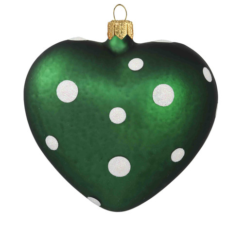 Hand crafted Christmas ornament Green heart with white polka dots