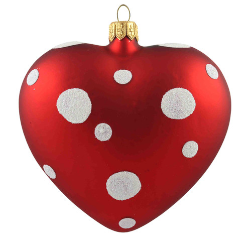 Red Heart With White Polka Dots Christmas Ornament, mouth-blown and hand-painted.