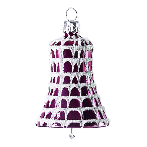 Hand crafted Christmas ornament Frosted purple bell