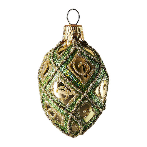 Hand crafted Christmas ornament Green and white oval