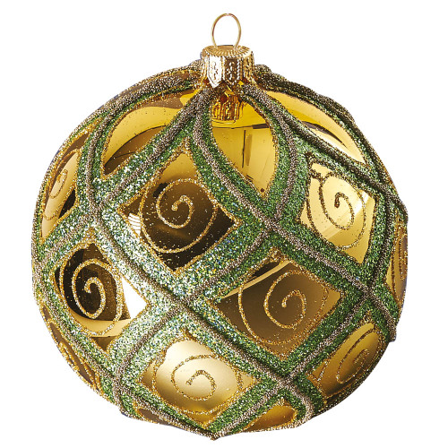 Gold ball with green diamond pattern