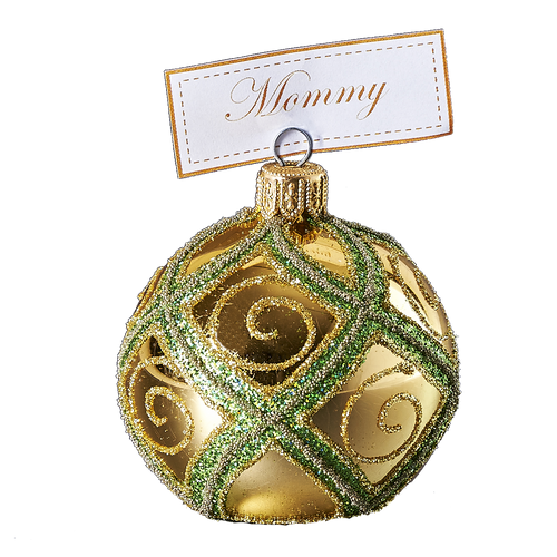Hand crafted Christmas ornament Gold cardholder with green diamond pattern