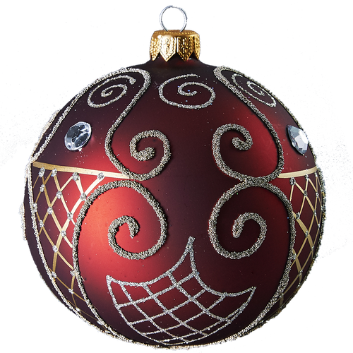 Handcrafted Christmas ornament Large Ruby ball with gold spirals by GLASSOR.