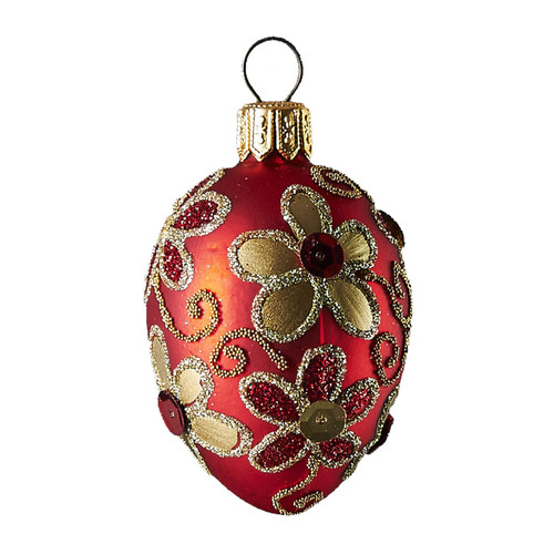 Hand crafted Christmas/Easter ornament Red oval with gold daisies
