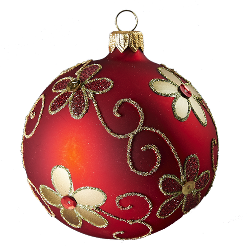Hand crafted Christmas ornament Red ball with gold daisies - large