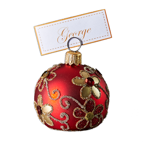 Hand crafted Christmas ornament Red cardholder with gold daisies
