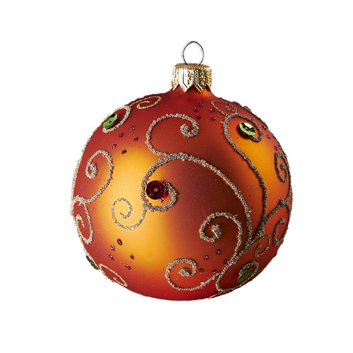 Handcrafted, mouth-blown and hand-painted Glass Christmas Ornament - Jeweled Orange Ball by GLASSOR.