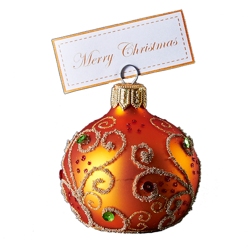 Hand crafted Christmas ornament Jeweled orange cardholder