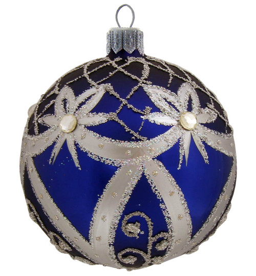 Handcrafted Christmas ornament Blue Ball with Silver Ribbons by GLASSOR.