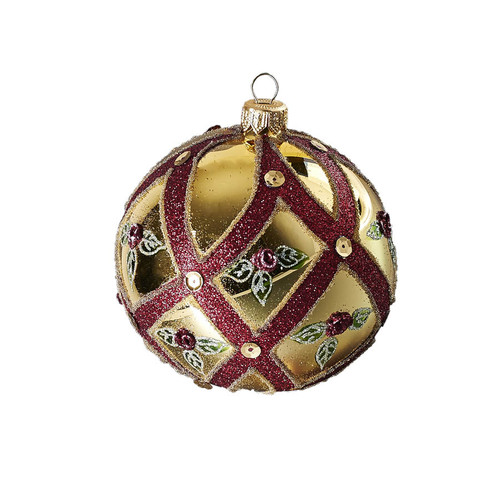 Hand crafted Christmas ornament Cream ball with rose buds