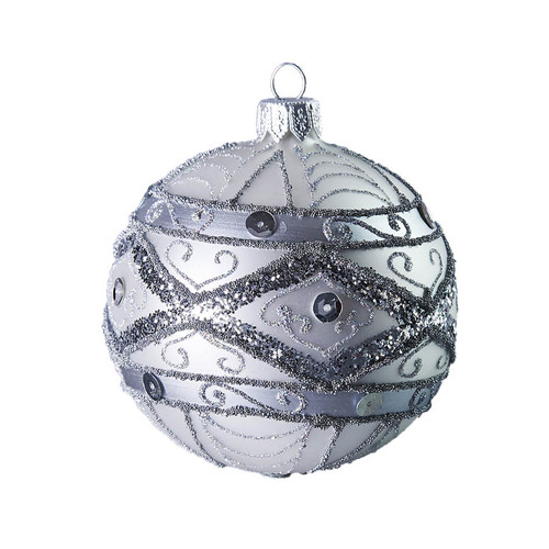 Hand crafted Christmas ornament Ornate silver ball
