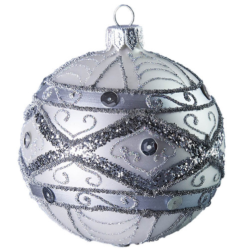 Hand crafted Christmas ornament Ornate silver ball - large