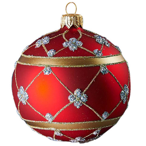 Large red adorned ball Christmas decoration. Mouth-blown and hand-painted glass Christmas ornament from GLASSOR.