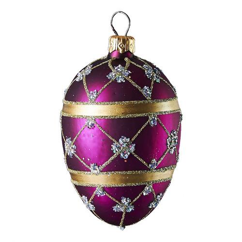Purple Christmas/Easter handmade glass adorned oval ornament