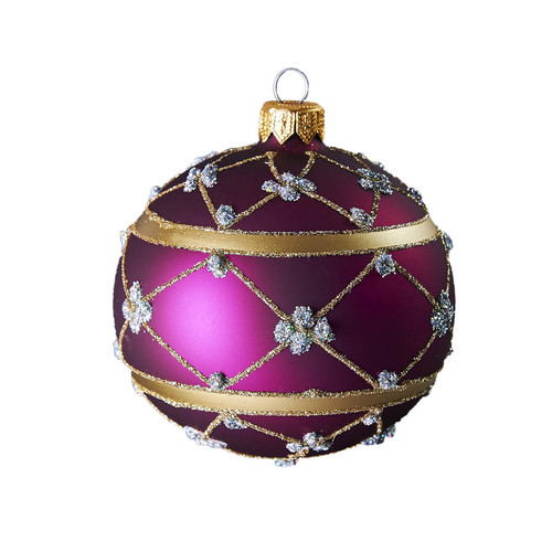 Hand crafted Christmas ornament Purple adorned ball