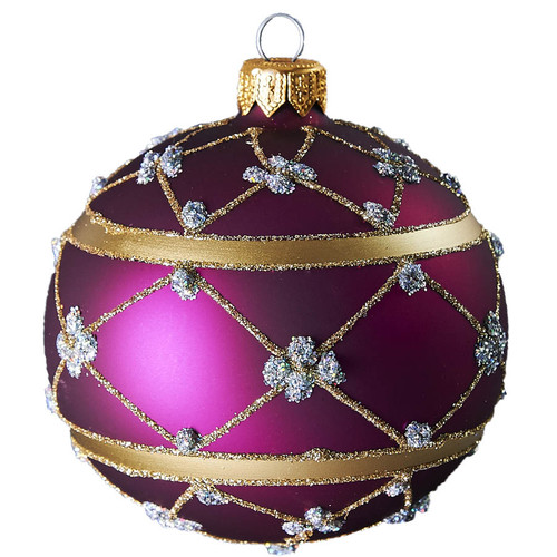 Hand crafted Christmas ornament Purple adorned ball - large