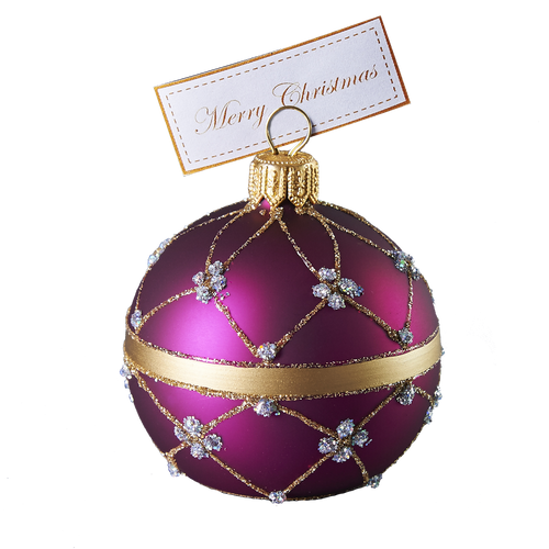 Hand crafted Christmas ornament Purple adorned cardholder - large