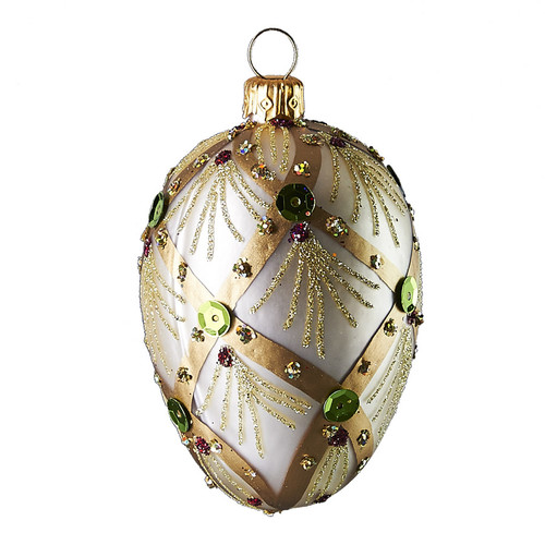 Hand crafted Christmas/Easter ornament Jeweled pearl oval