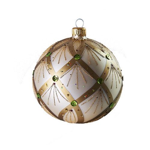 Hand crafted Christmas ornament Jeweled pearl ball