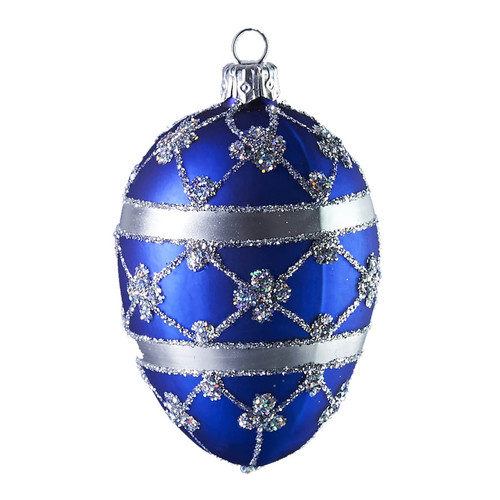 Hand crafted Christmas ornament Blue adorned oval